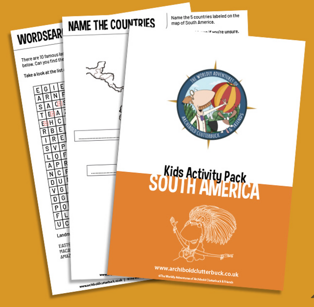 Free kids activity pack on South America