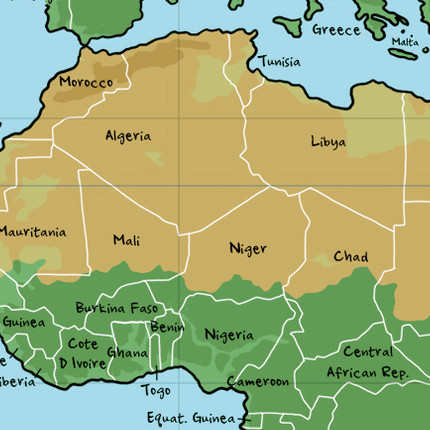 Map of North and Western Africa