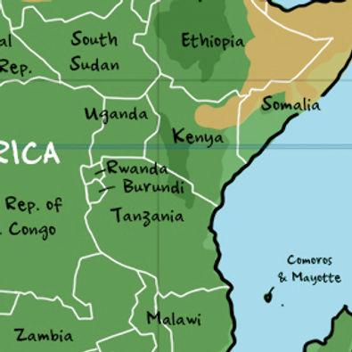 Map of Kenya and Tanzania