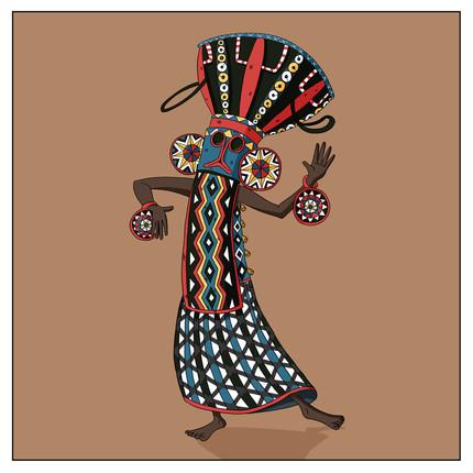 A Bamileke King dances in a traditional elephant mask