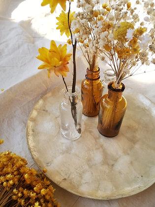 Fioles d'apothicaire + bouquet de fleurs séchées