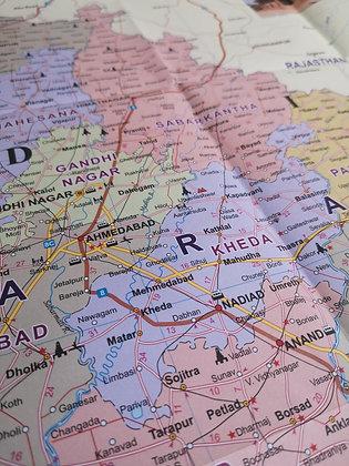 Carte géographique - Gujarat