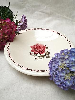 Plat motif rose Badonviller