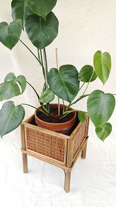 Cache-pot en rotin et bambou