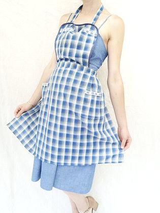 Tablier à carreaux bleu vintage