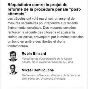 """Réquisitoire contre le projet de réforme de la procédure pénale """"post-attentats"""""""