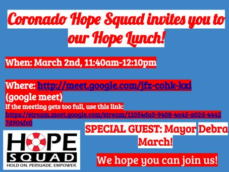 Coronado Hope Squad Lunch!