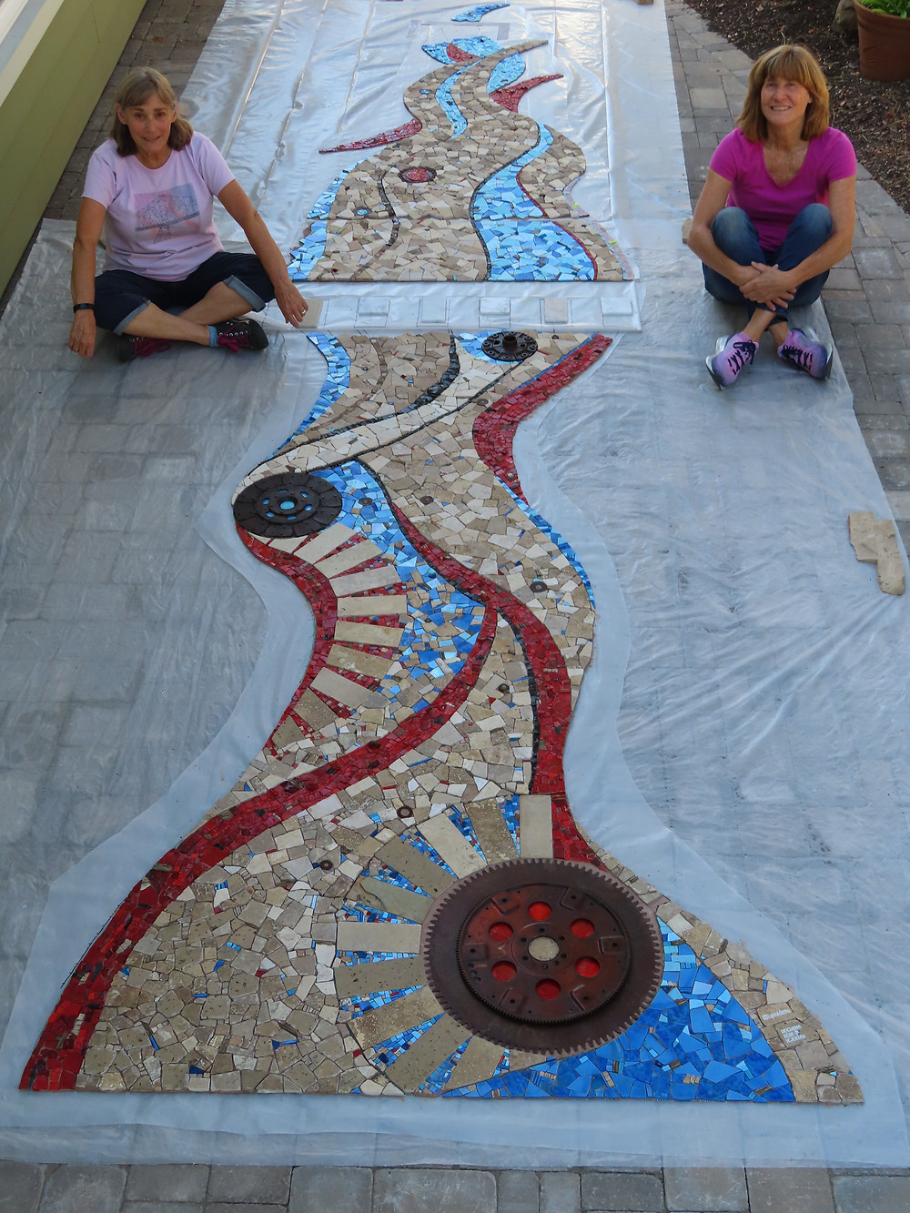 stone and glass mosaic mural