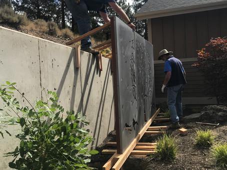 Installing corten landscape art panels