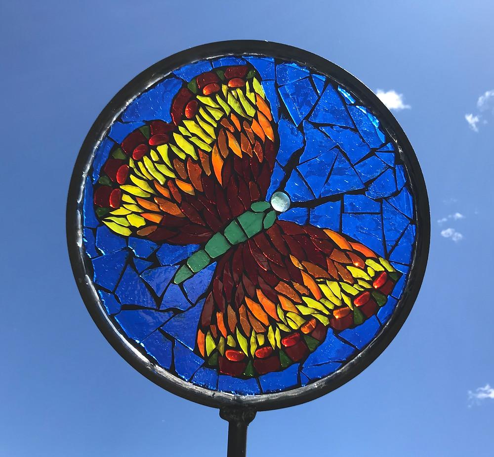 glass on glass mosaic garden art