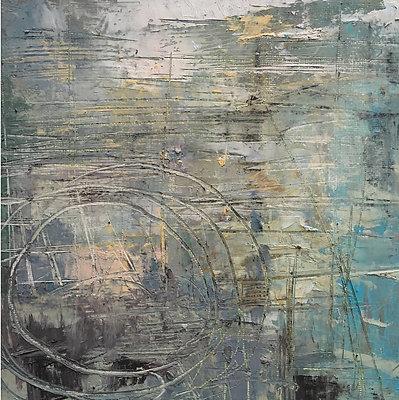 'Submersive II' 20cm x 20cm  Oil & Cold wax