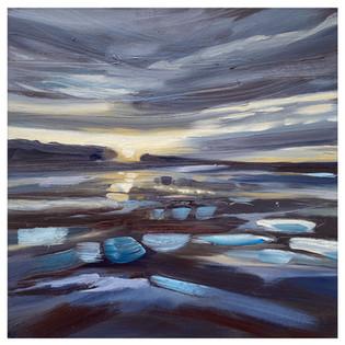 'Nightfall at Druridge Bay' 40cm x 40cm
