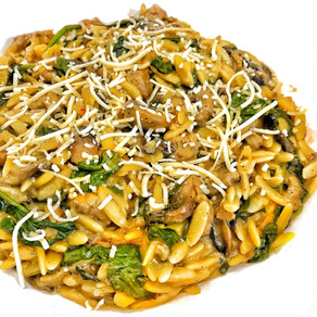 One Pot Sausage, Spinach and Mushroom Orzo