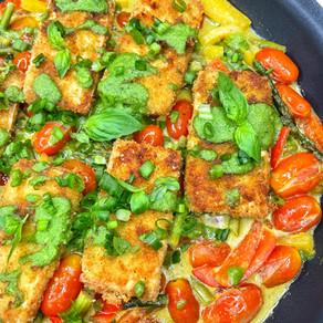 Crispy Pesto Tofu and Veggies