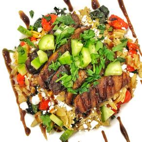 Vegan Balsamic Chicken and Vegetable Orzo