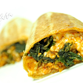 Chick'n Scallopini and Kale Burrito