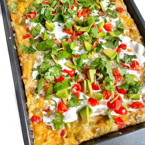 Green Chicken Enchilada Casserole (Vegan)