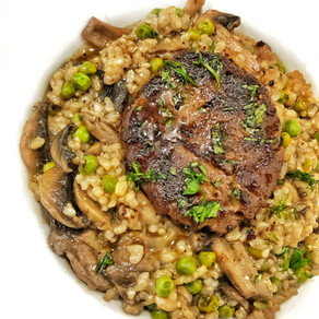 Filet with Brown Rice, Peas and Mushrooms