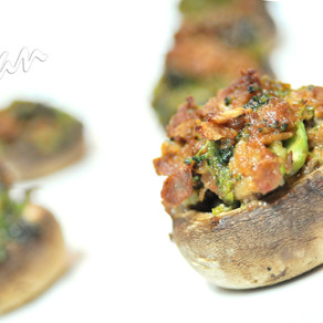Beefless and Broccoli Stuffed Mushrooms