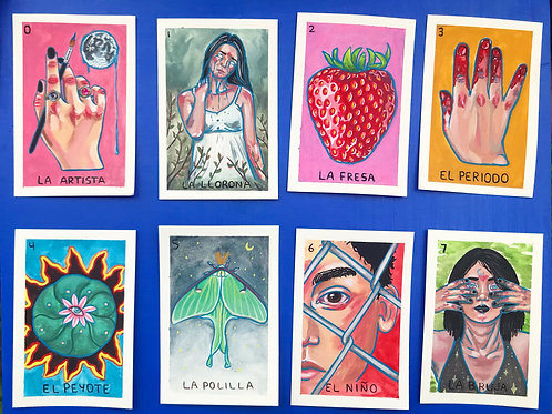 Loteria Cards Gouache Originals 0-7