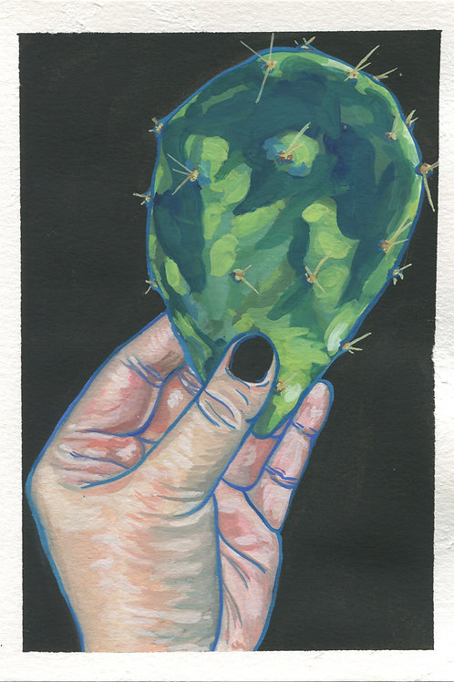 """Picking Nopales"" Gouache Painting"