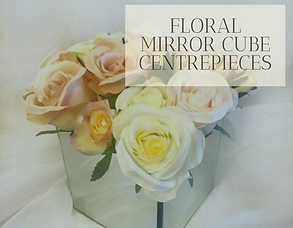 Floral Mirror Cube Centrepiece Hire in Hertfordshire, Bedfordshire, Buckinghamshire, London & Essex
