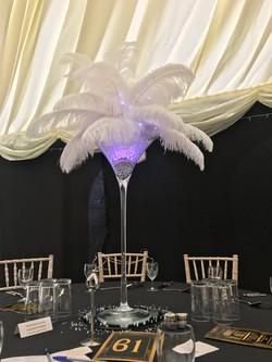 Feather Martini Centrepiece Hire in Hertfordshire, Bedfordshire, Buckinghamshire, Essex & London
