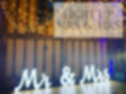 Light up Mr & Mrs letters hire in Hertfordhire, Bedfordshire, Buckinghamshire, Essex and London
