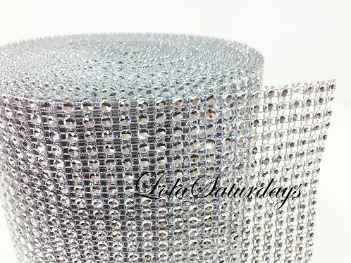 Diamond Rhinestone Mesh - Silver and Blacks