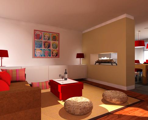 Project 3D visualisatie van een moderne ingerichte woonkamer.