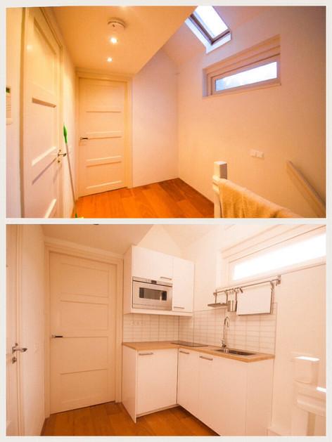 Project ontwerpen van een mini keuken. Voor en Na foto.