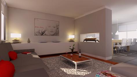 Project 3D visualisatie van een harmonieuze ingerichte woning.