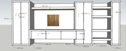 Project ontwerpen van een kastenwand.