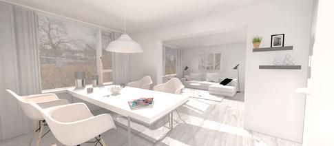 Project 3D visualisatie van een nieuwe ingerichte woonkamer.