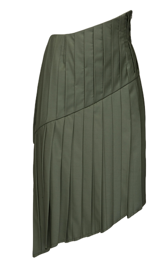 HAND PLEATED 360 WOOL SKIRT