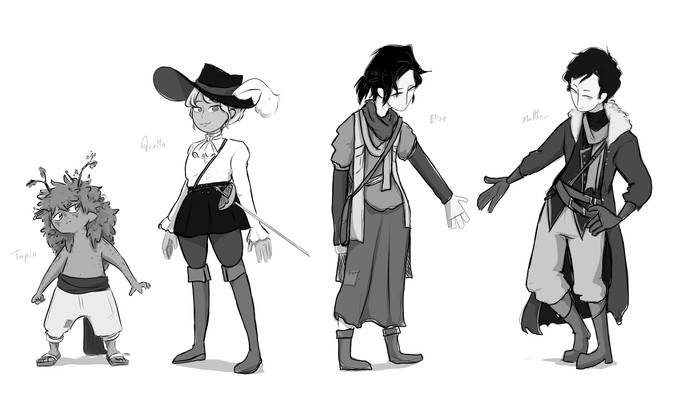 rough character lineup for unamed graphic novel (2019)