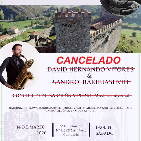 APLAZADO. Concierto de saxofón y piano. Sábado 14 de marzo de 2020. David Hernando Vitores y Sandro´