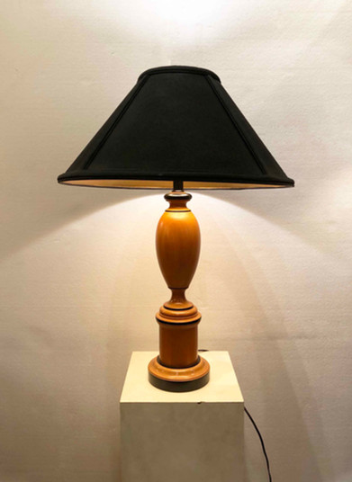 WOOD CARVED TABLE LAMP & SHADE