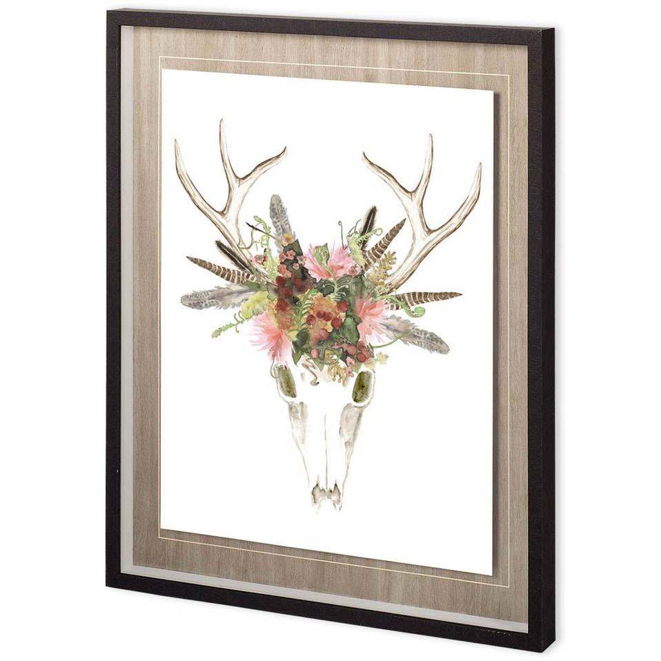 CUSTOM DEER SKULL & FLOWERS I