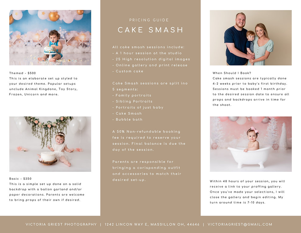 Cake Smash Pricing Guide - Victoria Grie