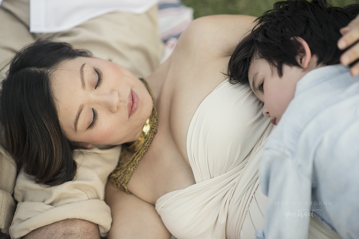 maternity photoshoot in Bali. Portrait of mother and son.