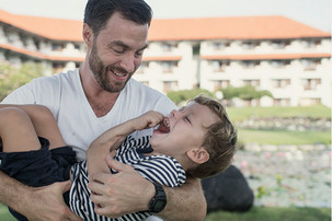 A family, father and son photograph from a  photoshoot in Bali at the Hyatt hotel in.Nusa Dua