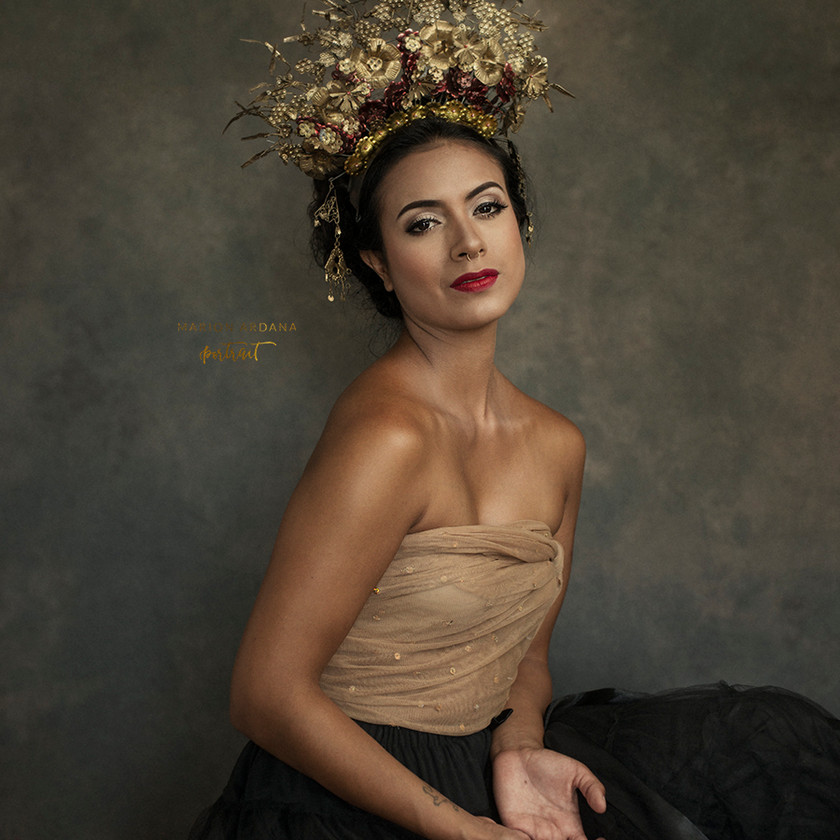 A fine art portrait from a creative photoshoot in Bali with lighting, makeup and props to enhance the themes. Editing in photoshop. With Bali  Based Photographer marion Ardana