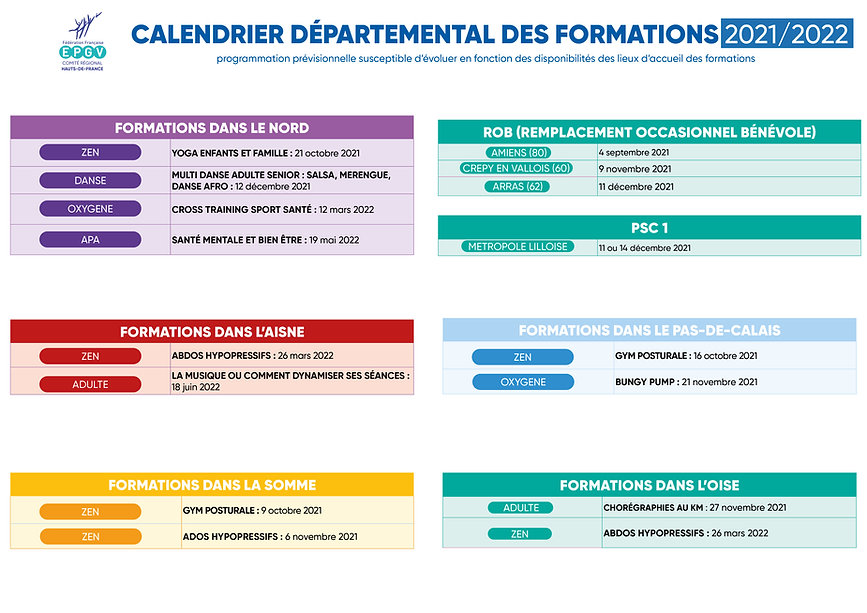 calendrier regional formation 2021 2022