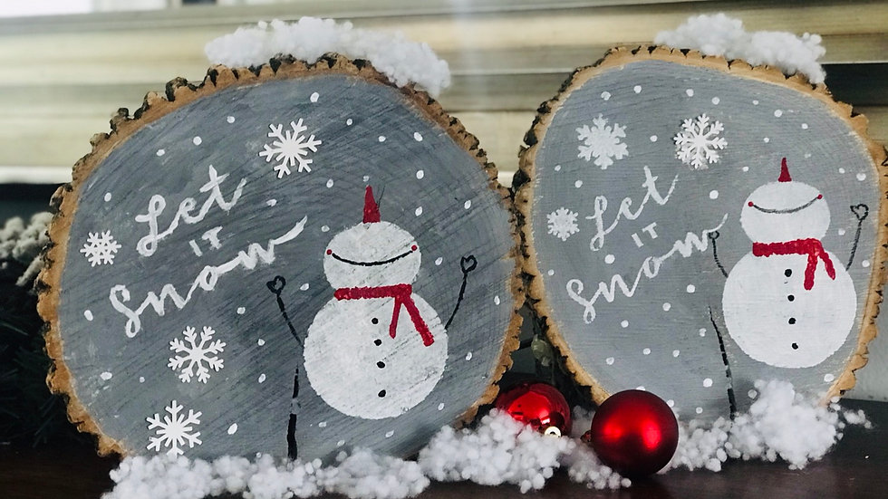 DIY SNOWMAN  let it snow wood slice art