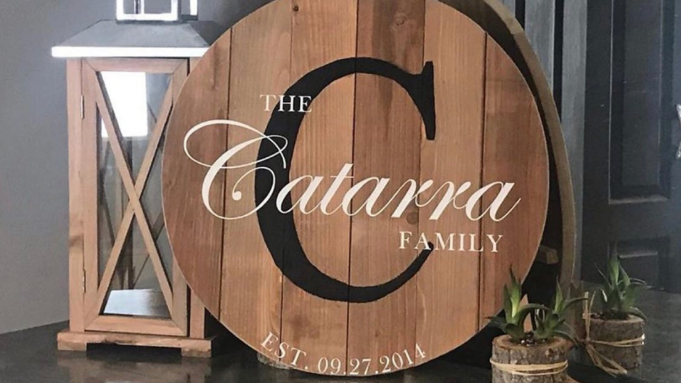 Rustic style family name sign
