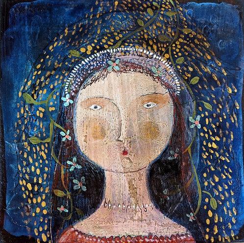 """June"" original painting portrait 6x6 on wood by Sarah Kiser"
