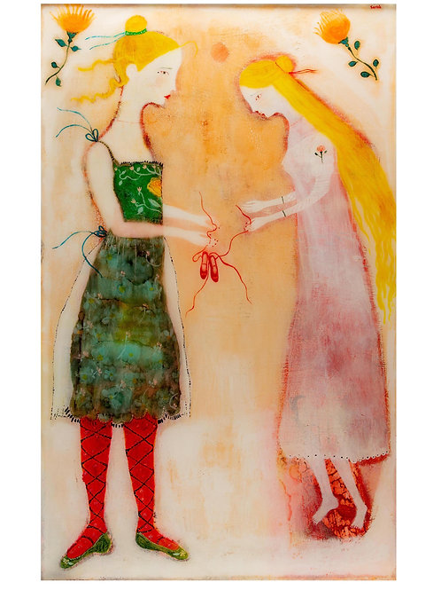 """""""The Red Shoes"""" Original painting under resin by Sarah Kiser"""