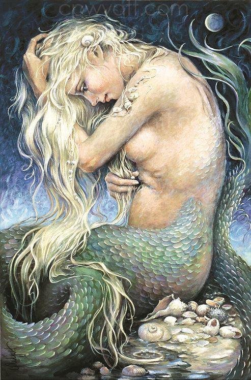 """MOONSHELL MAIDEN""  SIGNED PRINTS -Mermaid- by Artist Christina P. Wyatt"