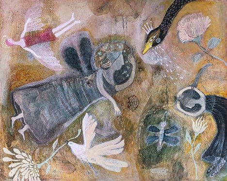 """Rain Dance"" 16x20 Original Mixed Media Painting panel Sarah Kiser"